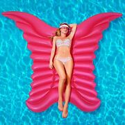Inflatable Swimming Float 77x61 Giant Mosaic Angel Wing Pool Lounger Raft I...