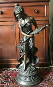 19th Century Bronze By Auguste Moreau Riene Des Pres Meadow Sweet 37 Tall