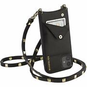 Bandolier Sarah Crossbody Phone Case And Wallet - Black Leather With Gold Det...