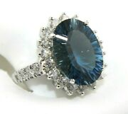Oval London Blue Topaz And Diamond Halo Solitaire Ring 14k White Gold 10.19ct