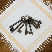 Vintage Skeleton Keys On Ring Rusted Patina Aged Home Decor Paper Weight Prop