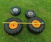 Set Of 4 Carlisle Turf Master Garden Tractor Wheels And Tires W Tire Chains