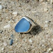 Authentic Aqua Blue Sea Glass And Sterling Silver Ring Size 7