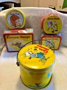 Vintage Curious George 5 Tins Lunch Boxes Pail All New In Plastic