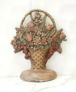 Antique Reproduction Door Stop Flowers In A Basket Cast Iron By Midwest Comp.