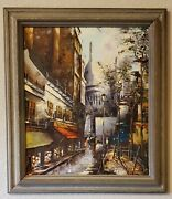 Pair Mid Century Oil Paintings French Cityscape Of Montmartre Signed Tepo '66