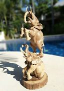 Hibiscus Wood Exquisite Elephant Sculpture Hand Carved Wooden Figurine Lucky Art