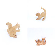 Wooden Hand Carved Squirrel With Food Acorn Statue, Cat Ass Up Stretching Statue