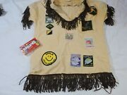 Vintage Fringed Scout Cub Shirt With Patches 970's