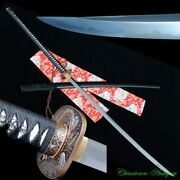 60 Japanese Ghost Tooth Nodachi Long Sword T10 Steel Clay Tempered Sharp 3428