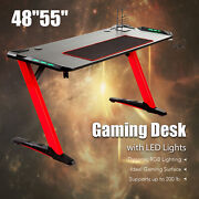 Gaming Table Gaming Desk Z-shape W Large Mouse Pad And 6-color Led Lights 48 55