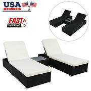 Three-piece 2flat Bed 1 Table For Patio Deck Poolside W/removable Cushion Covers