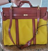 Asprey Yellow Leather Carry On Luggage With Shoulder Strap-vintage Pieceandnbsp