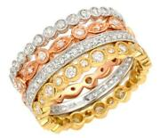 Large 1.16ct Diamond 18kt Tri Color Gold 3d Filigree Stackable Anniversary Ring