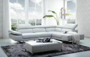 1717 Italian Leather Sectional Sofa In White