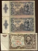 Austria 1950 3 Notes 20 And 2 10 Schilling   Circulated   Pick 128 And 129a   Ocao