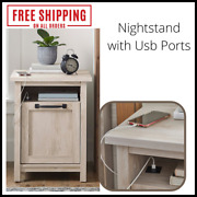 Nightstand With Usb Ports Power Modern Farmhouse Rustic Wood White For Indoor