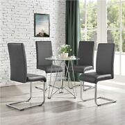 4pcs Dining Chairs Pu Leather High Back Chair W/ Metal Legs Kitchen Lounge Used