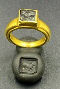 Roman Gold Ring Ancient Antique Jewelry With Garnet Stone Signet Stamp 18