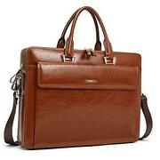 Women Oil Wax Leather Briefcases Slim Large Business 15.6 Oil Wax Brown