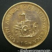 Africa South 1 Cent 1961. Km57. Brass Large One Penny Coin. Wagon.