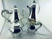 Christofle Marly Silver Plate Tea Coffee Set Louis Xv 4 Pcs Top Condition N°2
