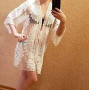 Swimsuit Coverups Ladies Sexy Bikini Cover Up For Beach Bathingsee-through Whit