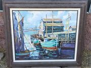 Vintage Oil Painting By Blanche P. Wilson Byu Mormon Artist California Bay Boats