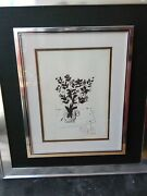 Marc Chagall Pen Signed Print Black And White Bouquet 1974