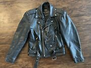 Wilsons The Leather Heavy Motorcycle Biker Leather Jacket - Black - Tagged S