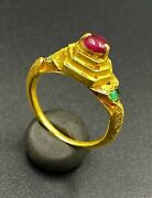 Old Antiques Ancient Ayutthaya Period Gold Jewelry Ring With Gems Stone