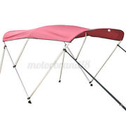 Boat Bimini Top 3 Bow Canopy Cover 54-90 Width 6ft W Rear Poles And Storag