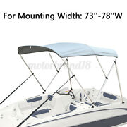 Boat Bimini Top 3 Bow Canopy Cover 73-78 Width 6ft W Rear Poles And Storag