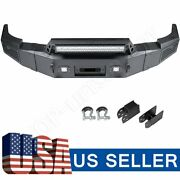 Textured Heavy Full Width Front Bumper W/ Winch Plate And Led For 07-13 Silverado