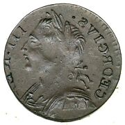 George Iii Brockage British Imitation Farthing Colonial Copper Coin