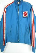 Vintage Rare 1970's Suzuki Blue Racing Jacket Small Front Back Patches Official