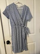 Perfect Peach - Ppd1050 - Short Sleeve Dress - Size Large - Dusty Blue Polka Dot