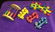 Vintage Holgate Wood Toys = Pull Toy - Counting Toy And Pull Train Cars W/people