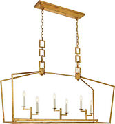 Chandelier Golden Iron Dining Room Kitchen Farmhouse Country Cottage 6 Light 54