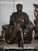 30 Chinese Pure Bronze Seat Chair Great Leaders Mao Zedong Chairmanmao Statue