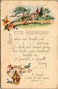 Vintage Postcard Your Friendship With Bible Verse House On Lake Scene