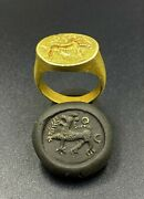 Antique Romans Antiquities Gold Signet Ring 2nd Century Ad Ancient Gold Jewelry