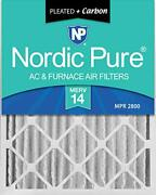 Nordic Pure 16x25x4 Merv 14 Pleated Plus Carbon Ac Furnace Air Filters 2 Pack