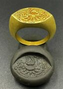 Antique Gold Jewelry Ring With Signet From Ancient Pyu Period From Burma 18 K