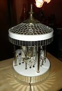 Vintage Rare Mirrored Musical Carousel With Porcelain Horses