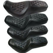 Two-up Motocycle Seat W/ Diamond Pattern For Harley Road King Street Glide 97-06