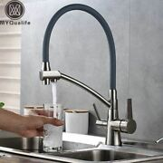 Kitchen Sink Faucet With Filter Dual Handles Hot Cold Mixer Tap Gold Black