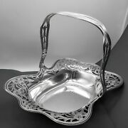 Frank Whiting 1900and039s Sterling Silver .925 Cake Basket 8344 Flowers 11-3/4 Euc