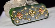 Old Naural Nephrite Jade Pendant Studded With Diamond And Color Stone In 22k Gold