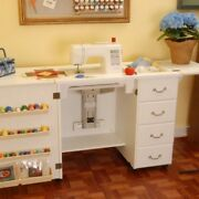 Arrow Norma Jean Sewing Machine Cabinet With Air Lift White With Quilt Leaf
